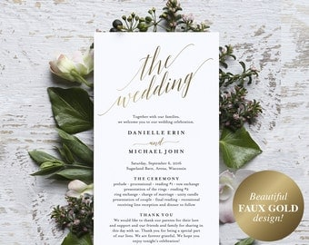 Gold Wedding Program, Wedding Program Printable, Wedding Programs Instant Download, Editable Program, PDF Instant Download #BPB324_3