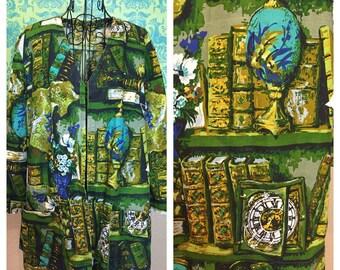 Vintage 1950s Jacket - Green Barkcloth Novelty Print Antiquities Study Books Globe Clock - M L