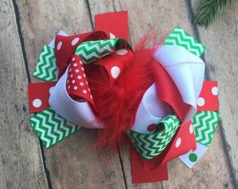 Christmas Bow - Christmas Hair bow - Holiday Bow - Holiday Hair Bow - Big Christmas Bow - Big Loopy Bow - Big Holiday hair Bow - Girl Bow