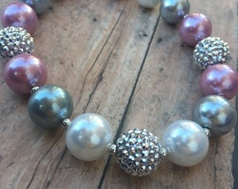 Bubblegum Necklace - Girls chunky bubblegum necklace - mauve and silver necklace - silver Sparkle necklace - Chunky Necklace - pink necklace