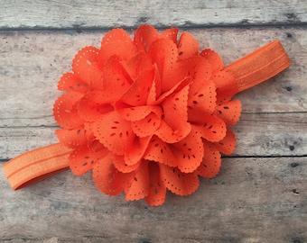 Orange Flower Headband - Headband - Orange Flower Clip - Elastic Headband - Orange Headband - Flower Headband - baby headband - newborn girl