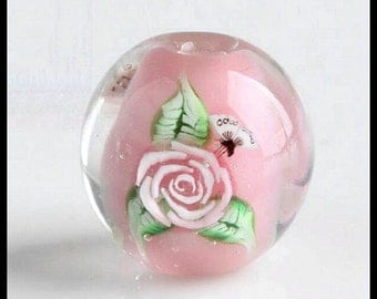 Lampwork Glass Beads -- Pink Lampwork Focal Beads,14 MM Rose Bead - [RJP091]