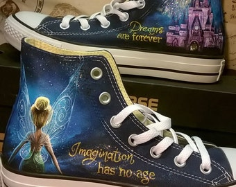 Disney hand painted shoes , Disney shoes, Tinkerbell shoes , hand painted converse shoes