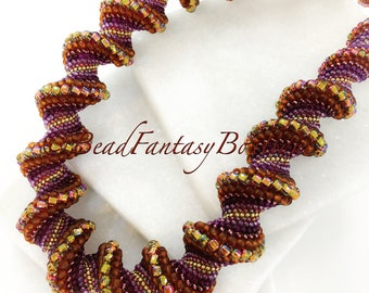 Statement Unique Handcrafted Beadwoven Beaded Peyote Cellini Spiral Copper Golden Brown Purple    Necklace- Free US Shipping