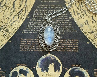 Sterling silver moonstone crystal necklace