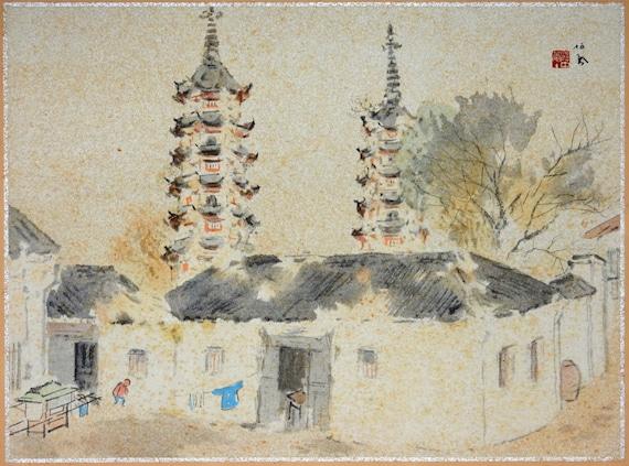 """Japanese antique print, Takeuchi Seihō, """"Suzhou, Temple towers"""""""