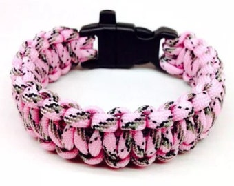 Paracord Bracelet Pink Realtree with Whistle Handmade Camo Survival Hiking Hunting USA Made