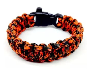 Paracord Bracelet Blaze Orange with Whistle Handmade Camo Survival Hiking Hunting USA Made