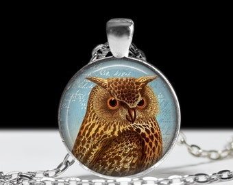 Owl Jewelry Pendant Wearable Art Owl Necklace Gift for Her Owl Gift