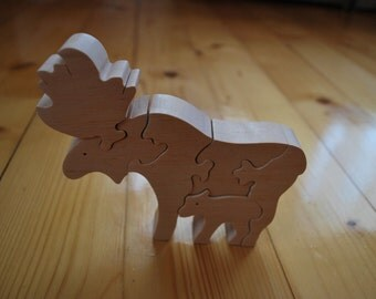 Elk Wooden puzzle anymals Jigsaw puzzle Wooden handmade toys Eco friendly toy Waldorf toy Wooden elks