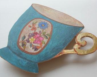 blue ( cut out) teacup