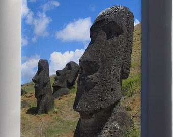 Canvas 24x36; Easter Island Moai Heads