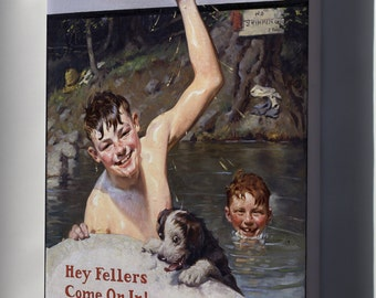 Canvas 24x36; Hey Fellers, Come On In! By Norman Rockwell 1920