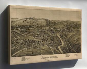 Canvas 24x36; Map Of Johnsonburg, Pennsylvania 1895