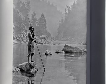 Canvas 24x36; Hupa Indian Fishing Smoky Day At The Sugar Bowl--Hupa, C. 1923. Hupa Man With Spear