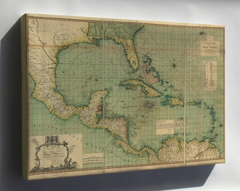 Canvas 24x36; General Chart Map Of The West Indies 1796