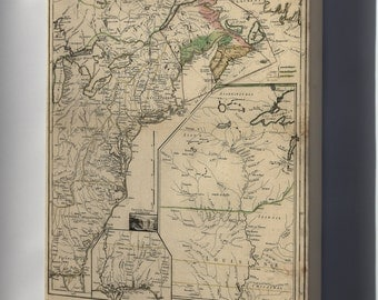 Canvas 24x36; Map Of New England & Canada 1755 P2