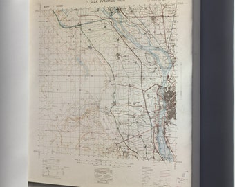 Canvas 16x24; Map Of El Giza Pyramids, Egypt 1927