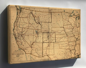 Canvas 16x24; Map Of Western United States Postal Routes 1867