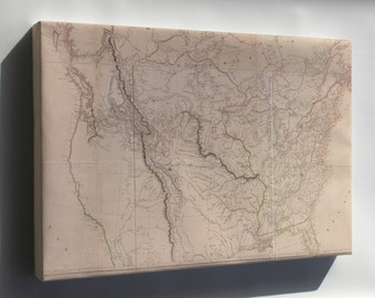 Canvas 16x24; Map Of Interior Of United States Of America 1814