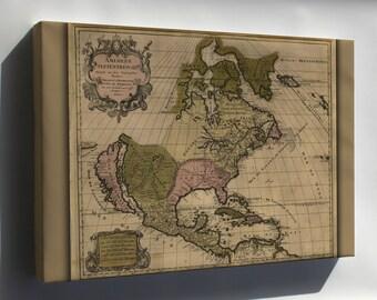 Canvas 16x24; Map Of North America Pre United States  1694