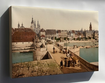 Canvas 16x24; Old Main Bridge And Town, Wurzburg, Bavaria, Germany 1890
