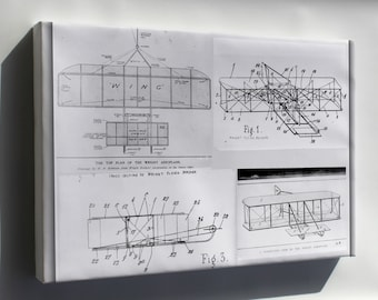 Canvas 16x24; Wright Brothers Plane Patent Plans 1908