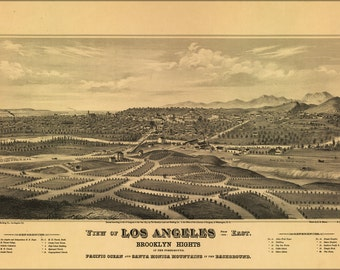 16x24 Poster; Map Of Los Angeles California 1877