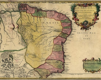 16x24 Poster; Map Of Brazil 1719