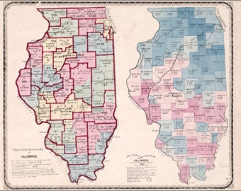 16x24 Poster; Map Of The Political Divisions Of Illinois 1870