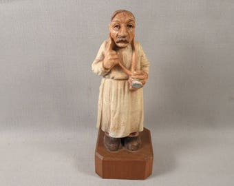 Anri Toriart Wooden Figurine Doctor with Stethoscope