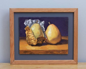 Holiday Pears Original Framed Oil Painting Still Life Kitchen Art by Aleksey Vaynshteyn