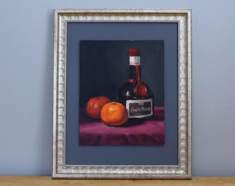 Grand Marnier Bottle and Tangerines Framed Oil Painting Still Life by Aleksey Vaynshteyn