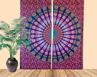 Boho Living Room Curtains, Bohemian Curtains For Bedroom, Tapestry Curtains,  Mandala Hippie Dorm