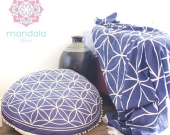 Pouf Ottoman Floor Cushion Seating Meditation Cushion Floor Pillow Floor Pouf Flower of Life Sacred Geometry NO FILLER INCLUDED