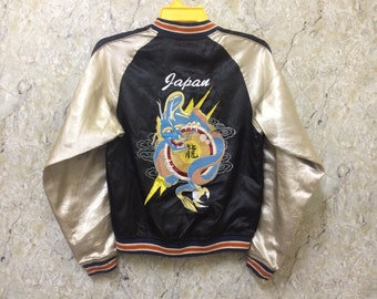 Vintage Embroidered Sukajan Varsity Jacket, Yakuza, Hip Hop, Japan, Dragon Jacket, Size M Rare