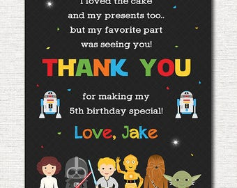 Star Wars Thank you card, Star Wars  Thank you note, Star Wars  Birthday, Star Wars  party, printable