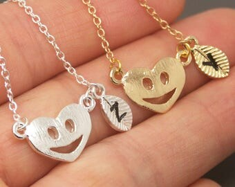 Smiley Face Necklace, Smile face Necklace, Happy Face Necklace, Smile Necklace, Personalized Initial Necklace, Bridesmaid Necklace NB692