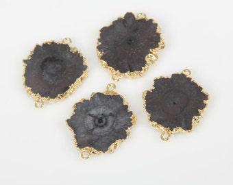 Freeform Druzy Necklace,Black Druzy Pendant Jewelry,YOU CHOOSE,Drusy Necklace Druzy Quartz Geode Pendant Connector with Gold Plated