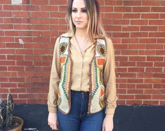 Vintage womens Crochet vest 60's/70's/Size:Medium/Large