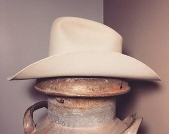 Vintage tall crown felt cowboy hat/Western/Beaver/5x/Size:Large