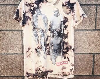 One Direction Shirt - medium - pop - boy band rock - rocker - metal- rock n roll - band shirt - concert shirt - distressed - grunge - rework