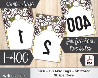 Agnes and Dora Facebook Live Numbers, Mirrored Image 1-400, Fashion Consultant, Stripe Rose Design, Direct Sales, INSTANT DOWNLOAD