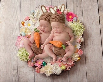 Twin Baby Easter Photo Outfit - Twin Phot Prop - Easter Baby - Twin Baby Easter Outfit - Twin Easter Baby - Easter Twin - Twin Baby Outfit