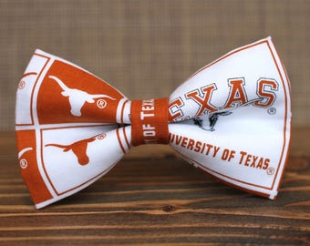 University of Texas Bow Tie | College Bow Tie | Sports Bow Tie | College Team | Gifts for Him | Kids Football Bow Tie | Coach Gift