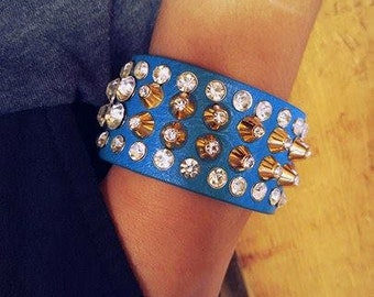 Jewel Studded Leather Cuff Bracelet