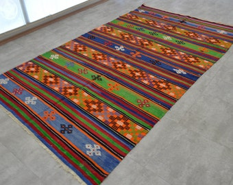 vintage oushak rug turkish kilim rug area rug 118 x 67 inches 100 original kilim