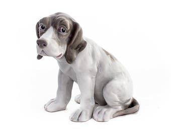 Gebrüder Heubach Dog Figurine, Porcelain Puppy, Pointer or Beagle