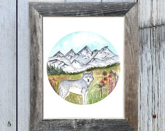 Spring Wolf in Mountains Watercolor Art Print,  Circle Art, Rustic Art, Cabin Chic Art, Rustic Chic Art