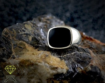 Black Onix  Ring,Sterling Silver Ring, Mens Ring, Black Onix Black Stone Ring Unique Ring